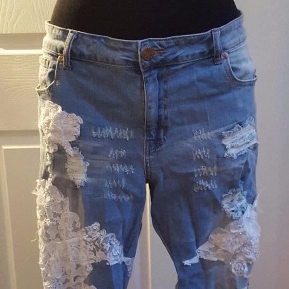 Sebrina Love Denim - CUSTOM Boho Festival Beaded Lace Destroyed Jeans